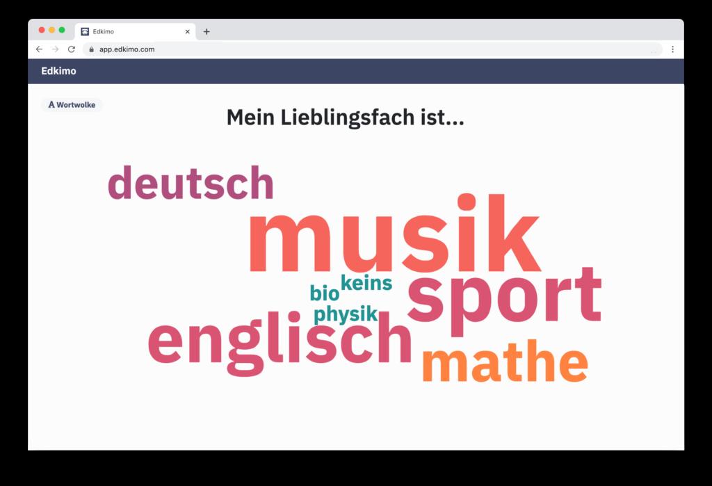Edkimo-Mentimeter-Wortwolke-Wordcloud-Lieblingsfach
