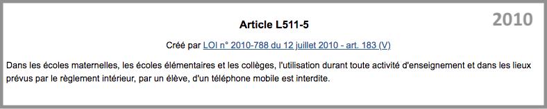 handyverbot-frankreich-2010-2018--Code-de-l-education-article-L511-5_VORHER